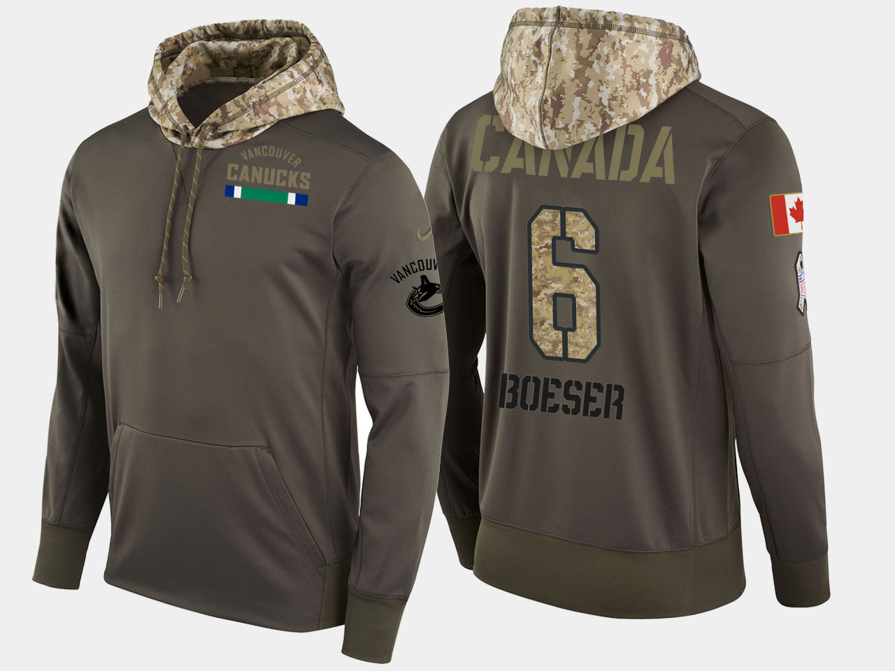 Nike Canucks 6 Brock Boeser Olive Salute To Service Pullover Hoodie