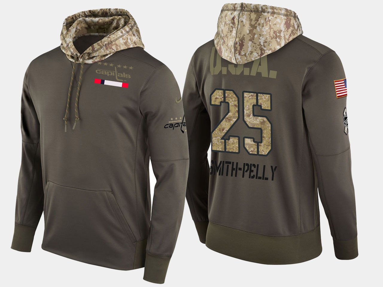 Nike Capitals 25 Devante Smith-Pelly Olive Salute To Service Pullover Hoodie