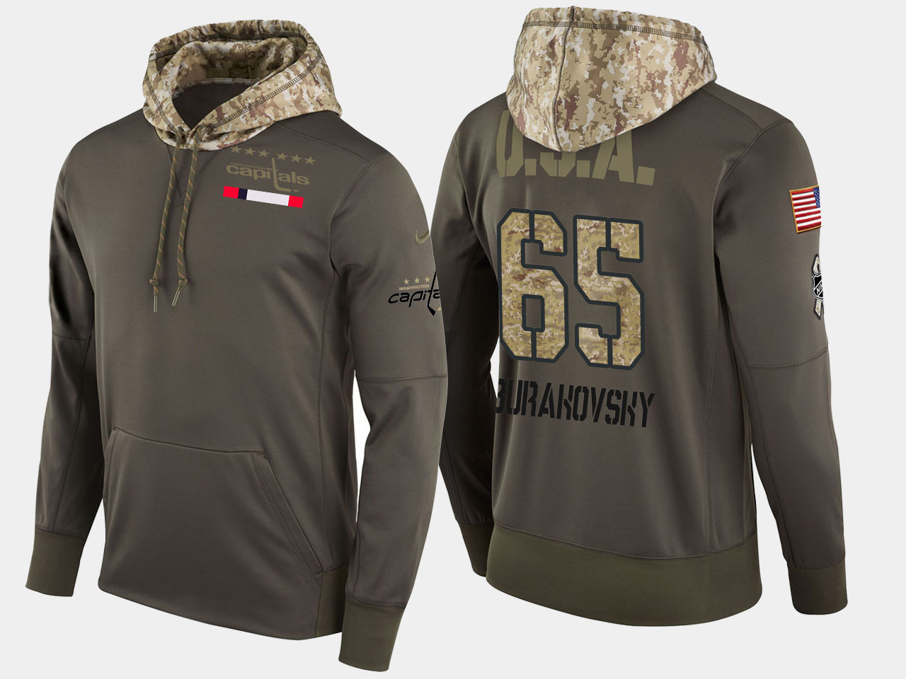 Nike Capitals 65 Andre Burakovsky Olive Salute To Service Pullover Hoodie