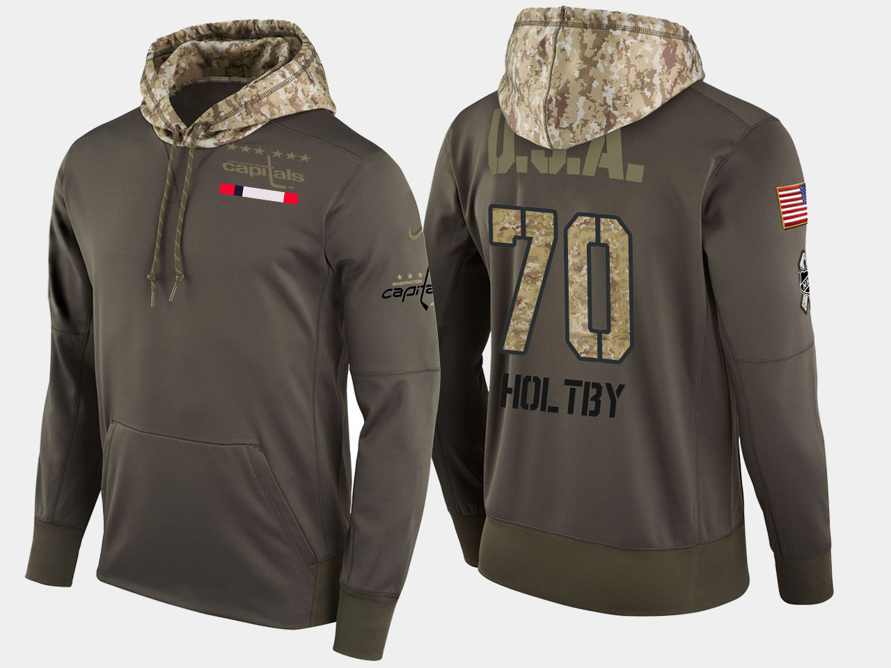 Nike Capitals 70 Braden Holtby Olive Salute To Service Pullover Hoodie