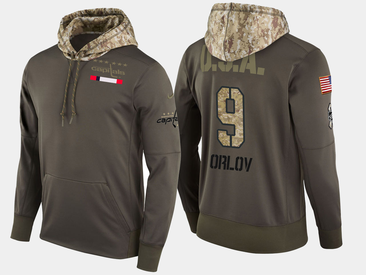 Nike Capitals 9 Dmitry Orlov Olive Salute To Service Pullover Hoodie