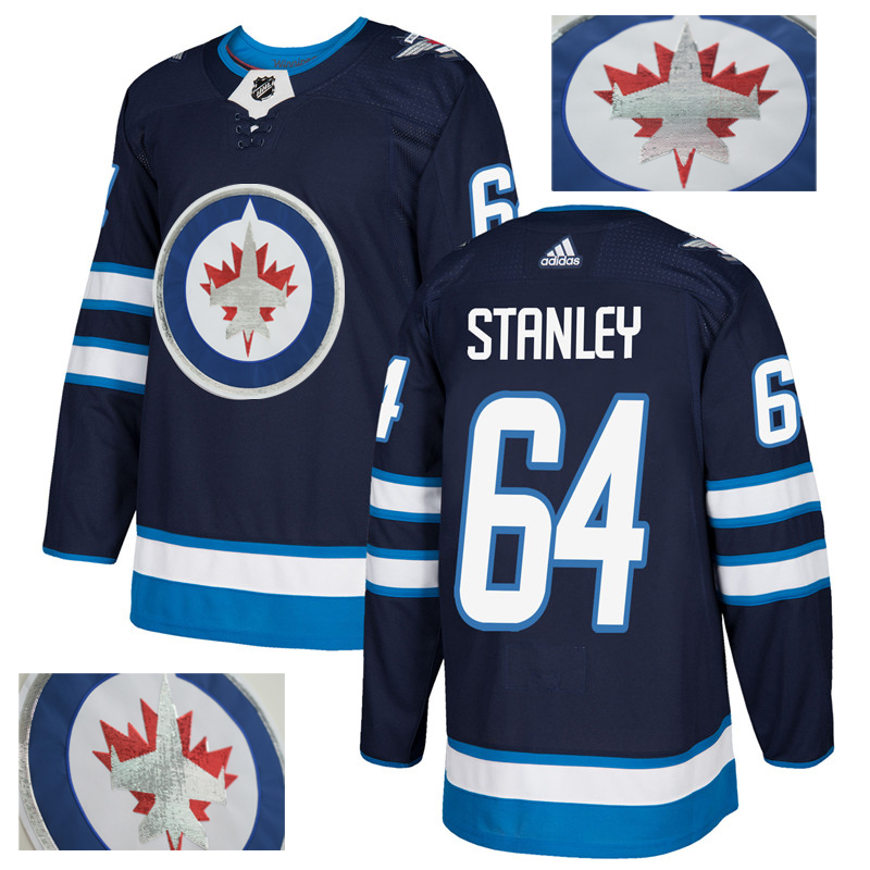 Jets 64 Logan Stanley Navy With Special Glittery Logo Adidas Jersey