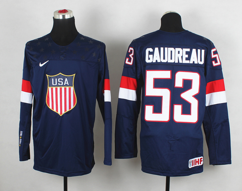 USA 53 Gaudreau Blue 2014 Olympics Jerseys