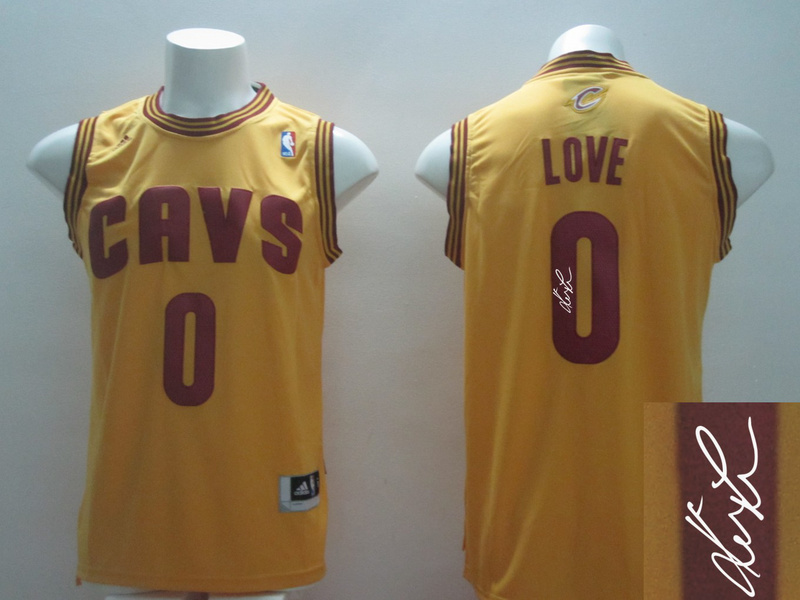 Cavaliers 0 Love Gold Signature Edition Jerseys
