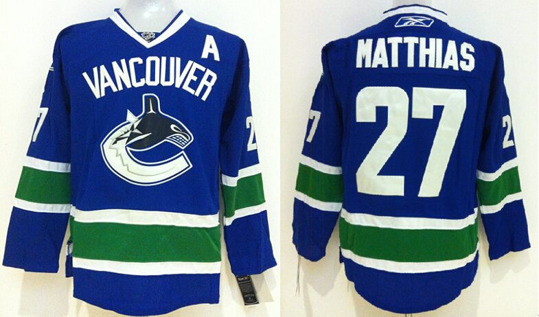 Canucks 27 Matthias Blue Jerseys