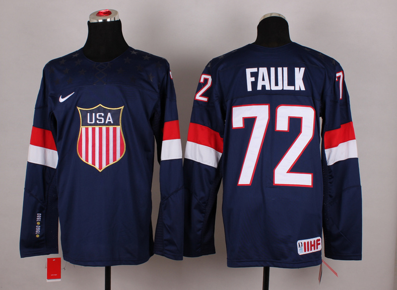 USA 72 Faulk Blue 2014 Olympics Jerseys