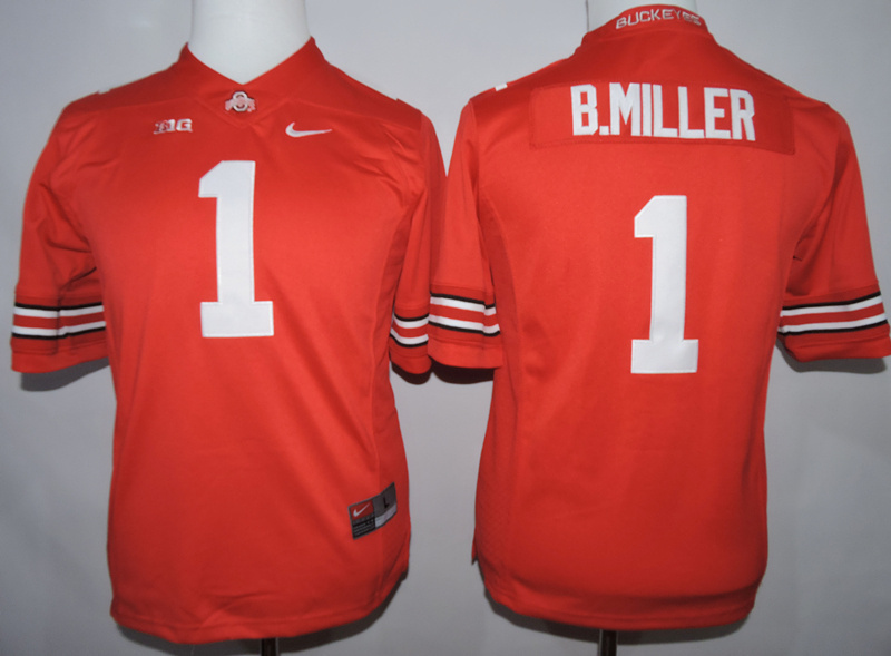 Ohio State Buckeyes 1 B.Miller Red College Youth Jersey