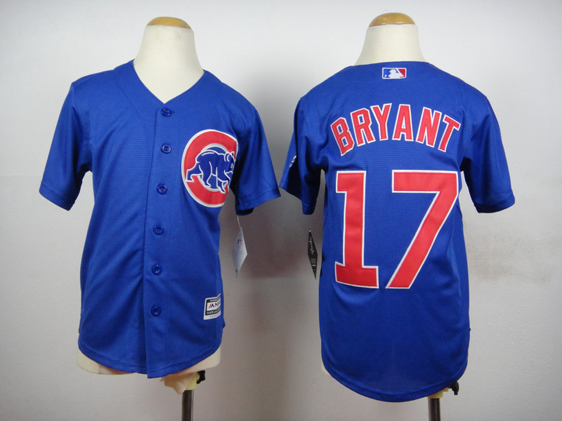 Cubs 17 Bryant Blue Youth New Cool Base Jersey