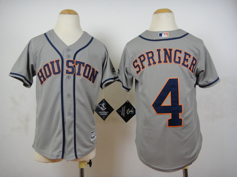 Astros 4 George Springer Grey Youth New Cool Base Jersey