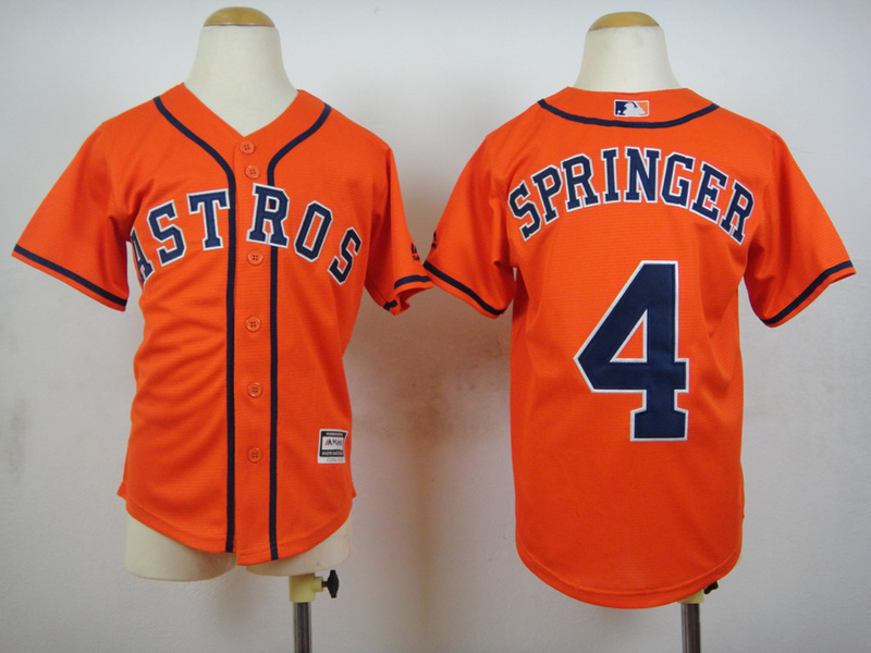 Astros 4 George Springer Orange Youth New Cool Base Jersey