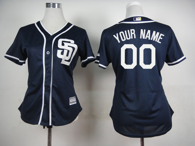 Padres Dark Blue Cutomized Women New Cool Base Jersey