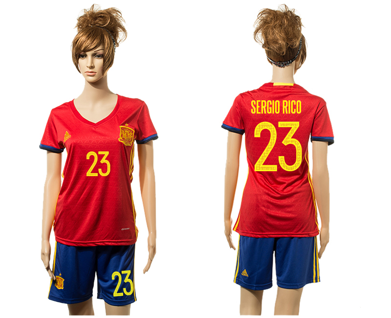 Spain 23 SERGIO RICO Home Women UEFA Euro 2016 Jersey