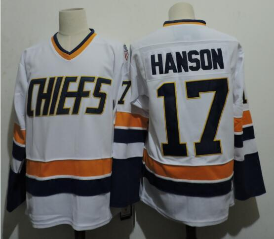 Hanson Brothers 17 Steve Hanson White Stitched Movie Jersey