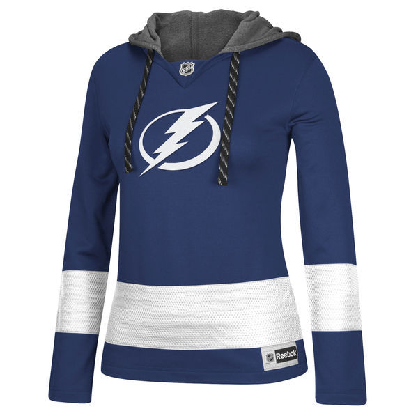 Tampa Bay Lightning Blue All Stitched Women's Hooded Sweatshirt