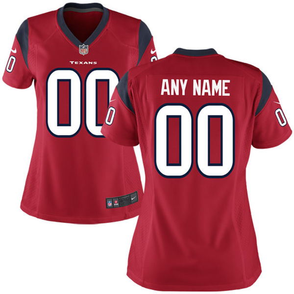 Nike Houston Texans Red Women Game Customized Jersey