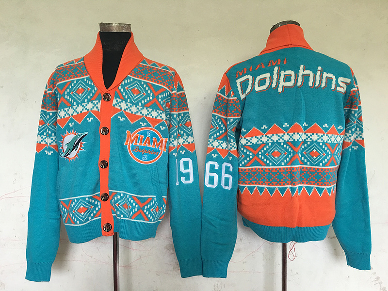 Miami Dolphins NFL Adult Ugly Cardigan Sweater