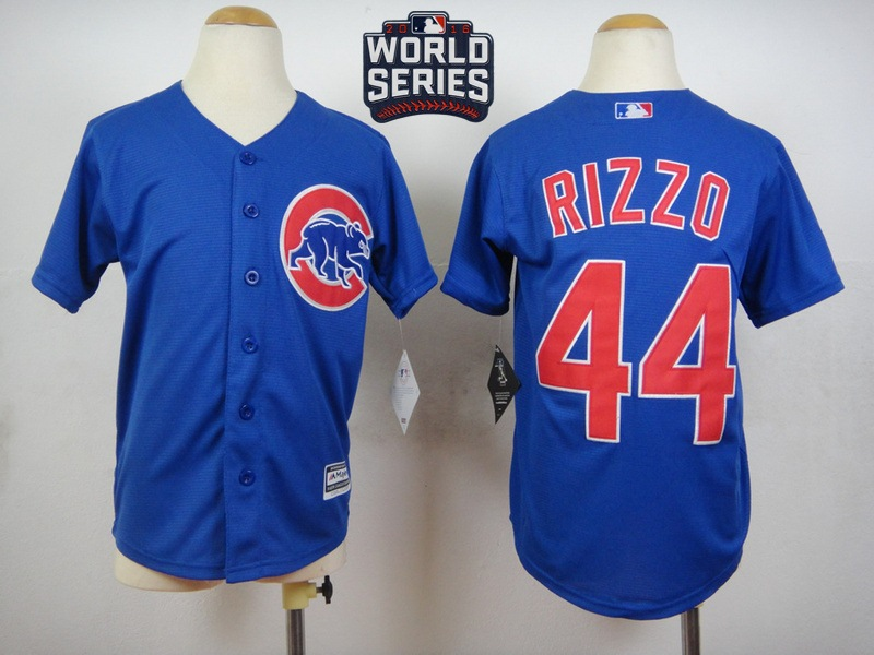 Cubs 44 Anthony Rizzo Royal 2016 World Series Youth New Cool Base Jersey