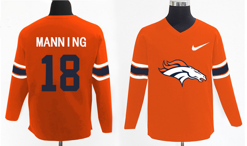 Nike Broncos 18 Peyton Manning Orange Knit Sweater