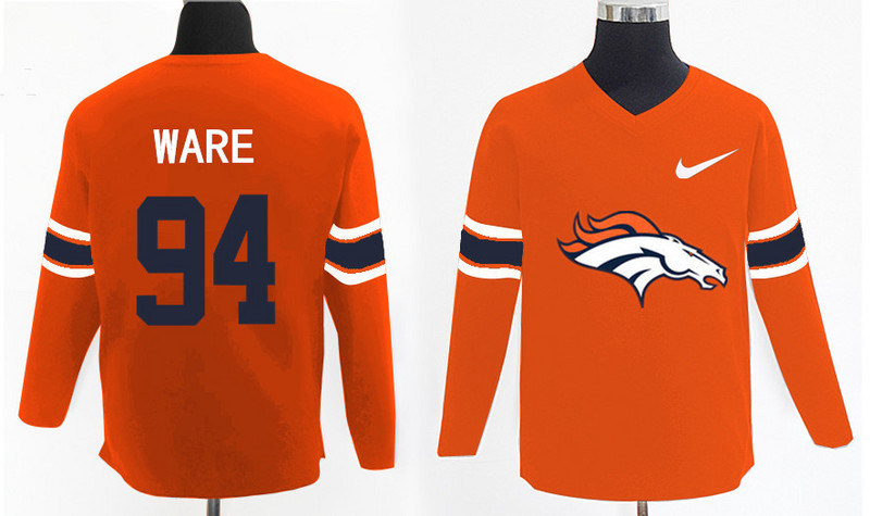 Nike Broncos 94 DeMarcus Ware Orange Knit Sweater