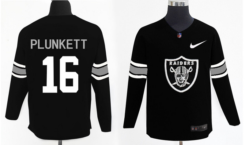 Nike Raiders 16 Jim Plunkett Black Knit Sweater