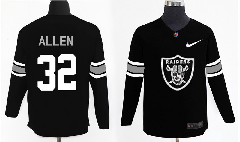 Nike Raiders 32 Marcus Allen Black Knit Sweater