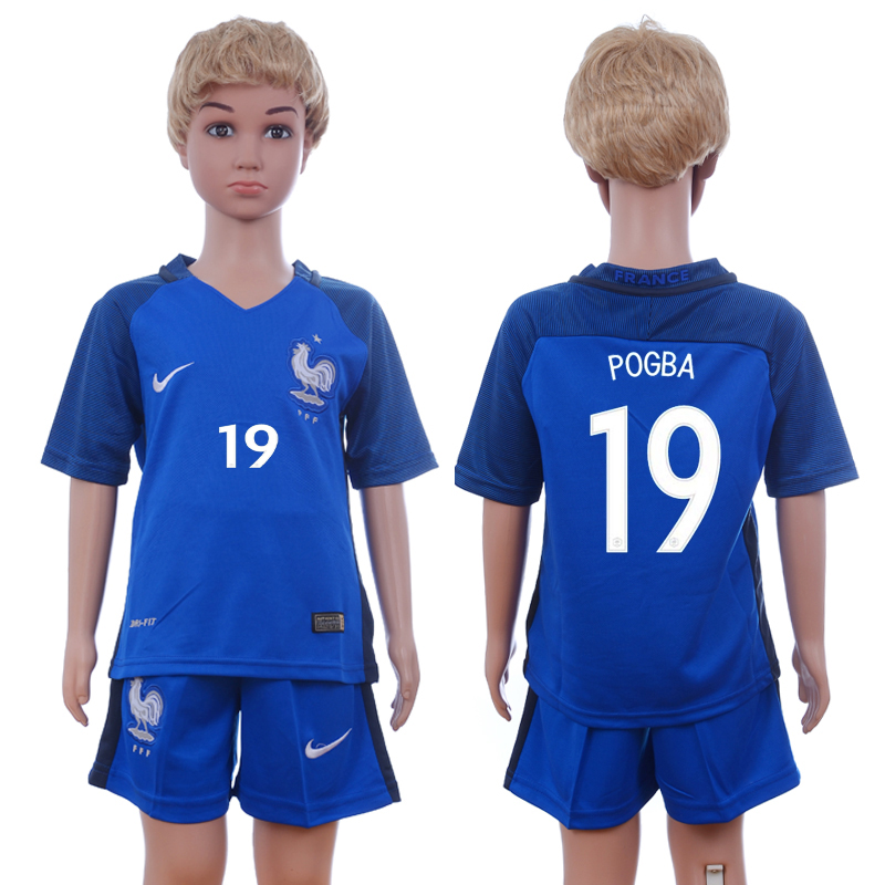 France 19 POGBA Home Youth UEFA Euro 2016 Soccer Jersey