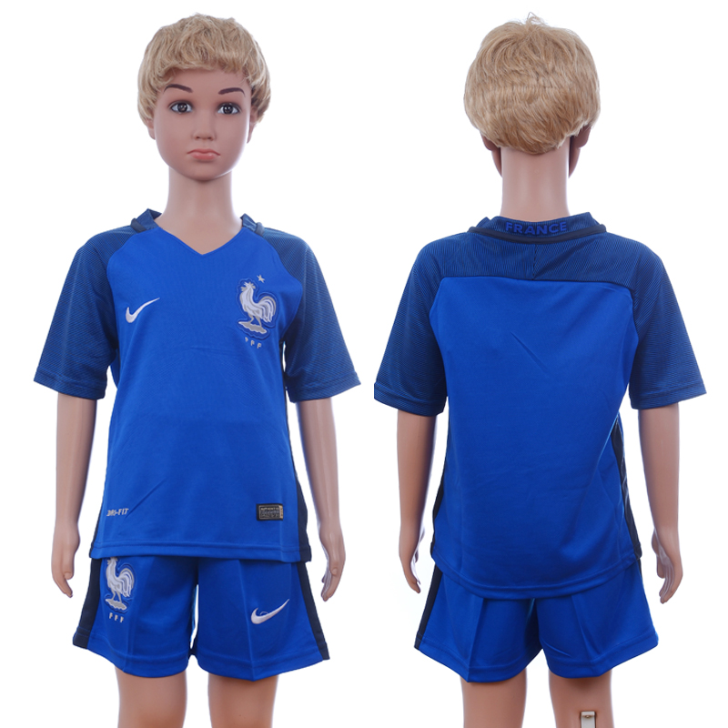 France Home Youth UEFA Euro 2016 Soccer Jersey