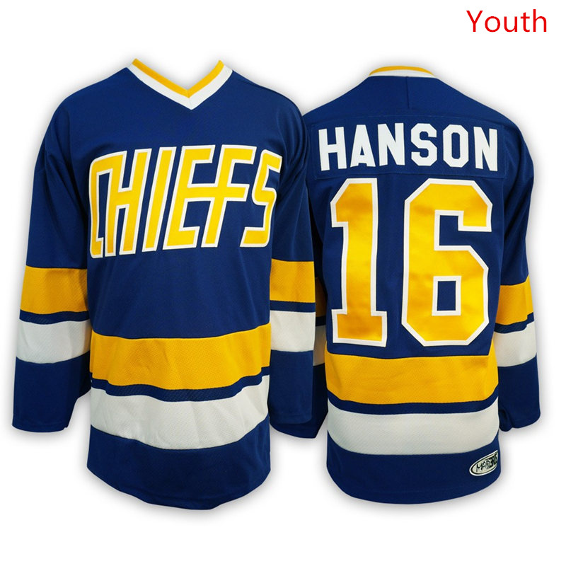 Hanson Brothers 16 Jack Hanson Blue Stitched Youth Movie Jersey