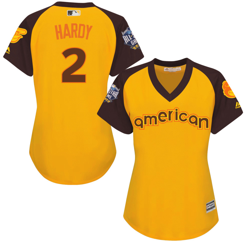 Orioles 2 J.J. Hardy Yellow Women 2016 All-Star Game Cool Base Batting Practice Player Jersey