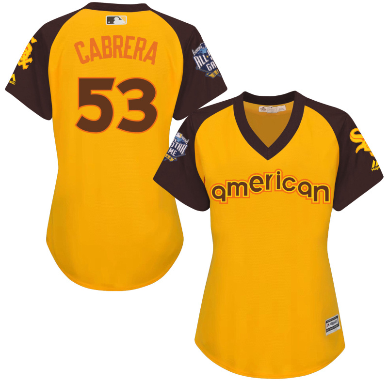 White Sox 53 Melky Cabrera Yellow Women 2016 All-Star Game Cool Base Batting Practice Player Jersey