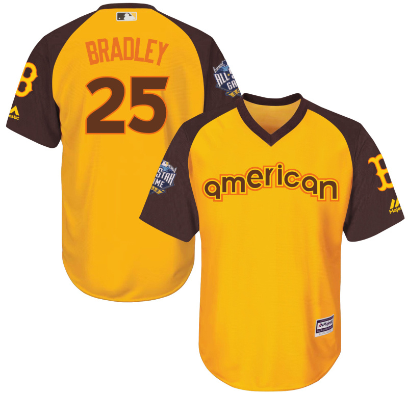 Red Sox 25 Jackie Bradley Yellow Youth 2016 All-Star Game Cool Base Batting Practice Player Jersey