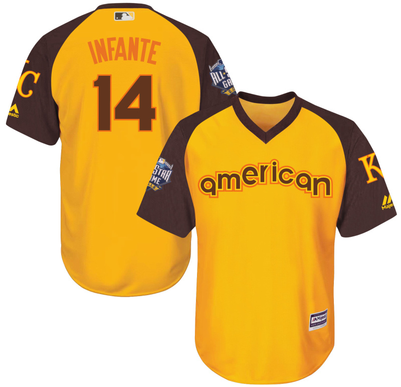 Royals 14 Omar Infante Yellow Youth 2016 All-Star Game Cool Base Batting Practice Player Jersey