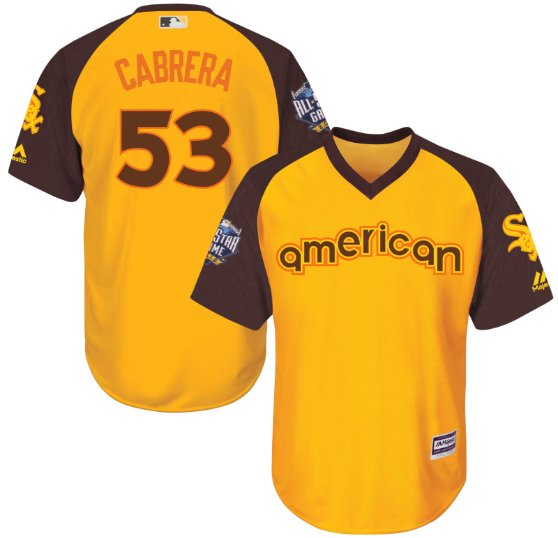 White Sox 53 Melky Cabrera Yellow Youth 2016 All-Star Game Cool Base Batting Practice Player Jersey