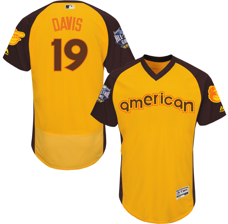 Orioles 19 Chris Davis Yellow 2016 All-Star Game Cool Base Batting Practice Player Jersey