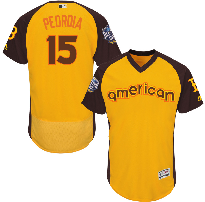 Red Sox 15 Dustin Pedroia Yellow 2016 All-Star Game Cool Base Batting Practice Player Jersey