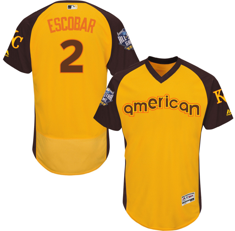 Royals 2 Alcides Escobar Yellow 2016 All-Star Game Cool Base Batting Practice Player Jersey