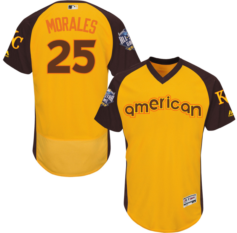 Royals 25 Kendrys Morales Yellow 2016 All-Star Game Cool Base Batting Practice Player Jersey