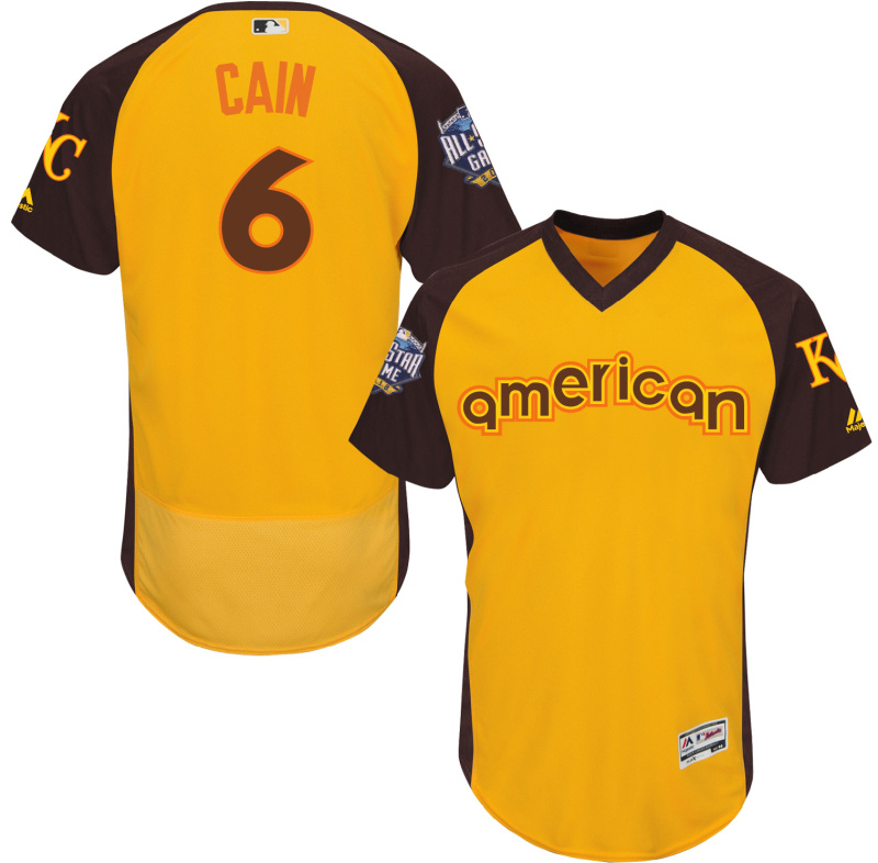Royals 6 Lorenzo Cain Yellow 2016 All-Star Game Cool Base Batting Practice Player Jersey