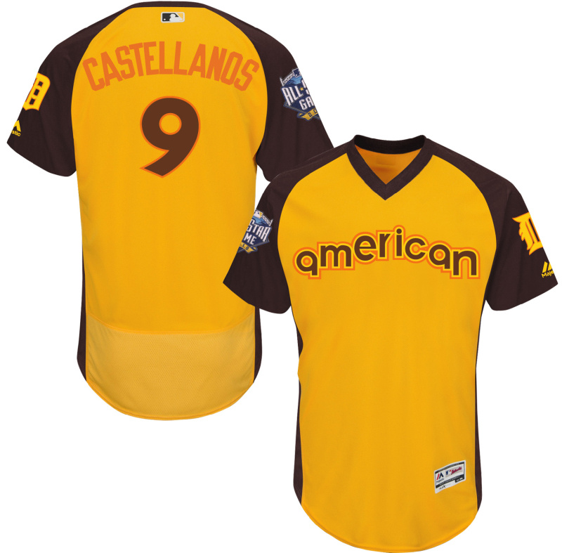 Tigers 9 Nick Castellanos Yellow 2016 All-Star Game Cool Base Batting Practice Player Jersey