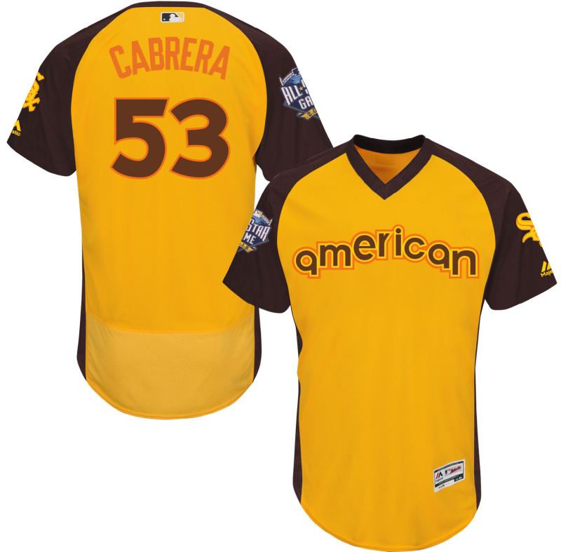 White Sox 53 Melky Cabrera Yellow 2016 All-Star Game Cool Base Batting Practice Player Jersey