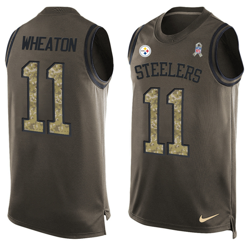 Nike Steelers 11 Markus Wheaton Olive Green Salute To Service Player Name & Number Tank Top