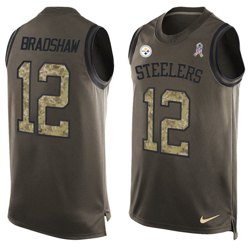 Nike Steelers 12 Terry Bradshaw Olive Green Salute To Service Player Name & Number Tank Top