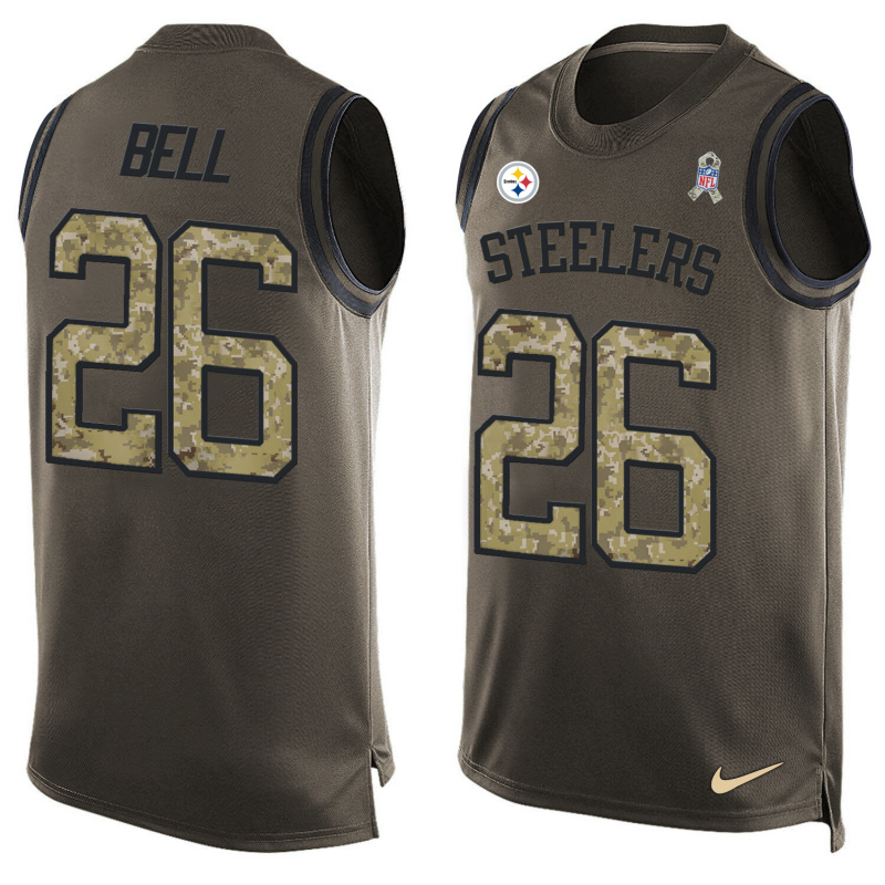 Nike Steelers 26 Le'Veon Bell Olive Green Salute To Service Player Name & Number Tank Top