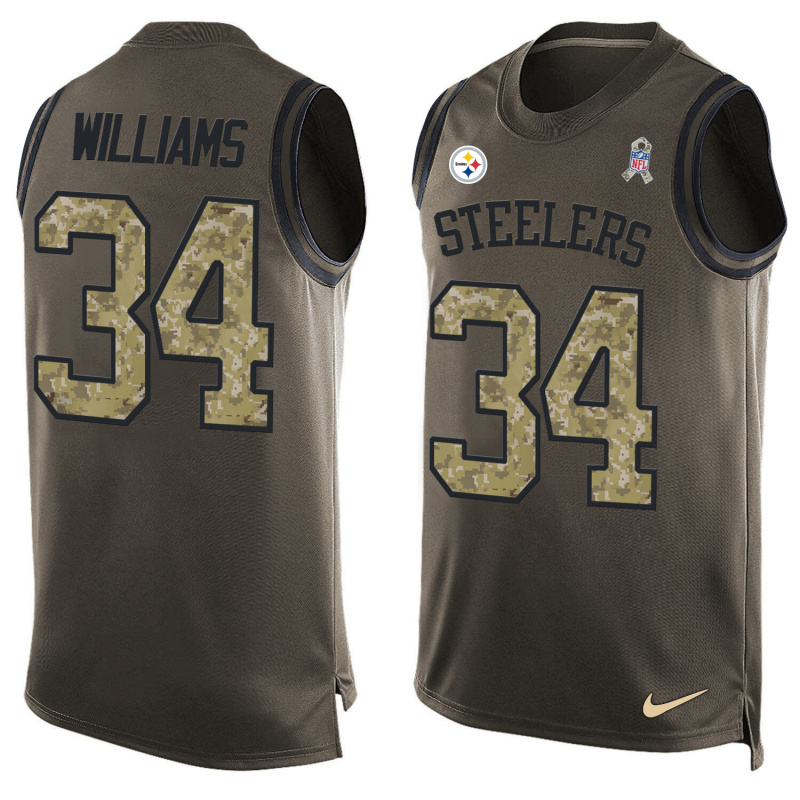 Nike Steelers 34 DeAngelo Williams Olive Green Salute To Service Player Name & Number Tank Top