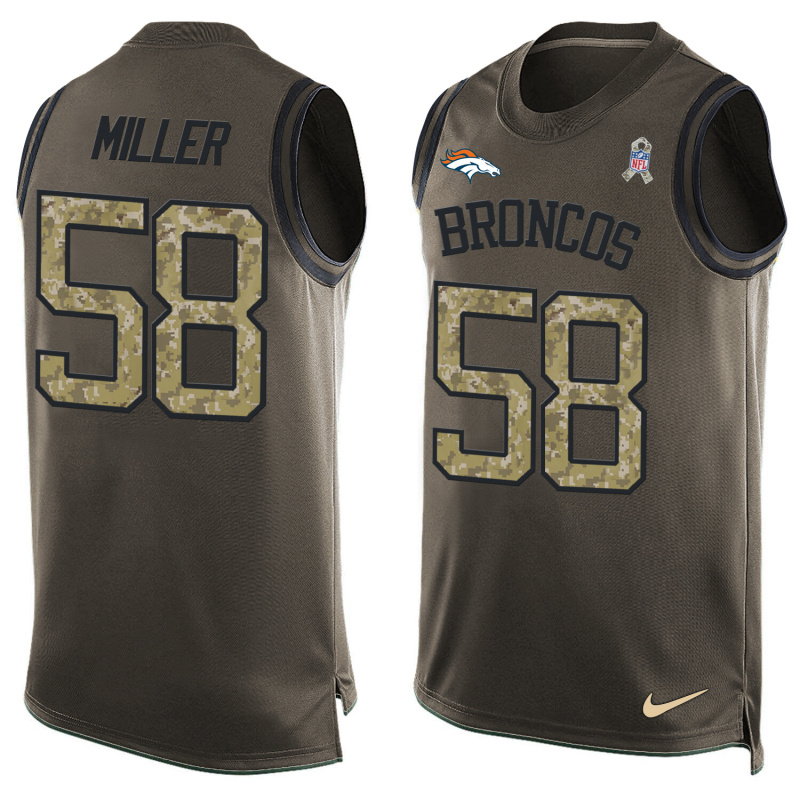 Nike Broncos 58 Von Miller Olive Green Salute To Service Player Name & Number Tank Top