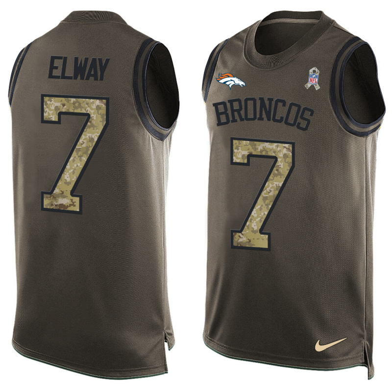 Nike Broncos 7 John Elway Olive Green Salute To Service Player Name & Number Tank Top