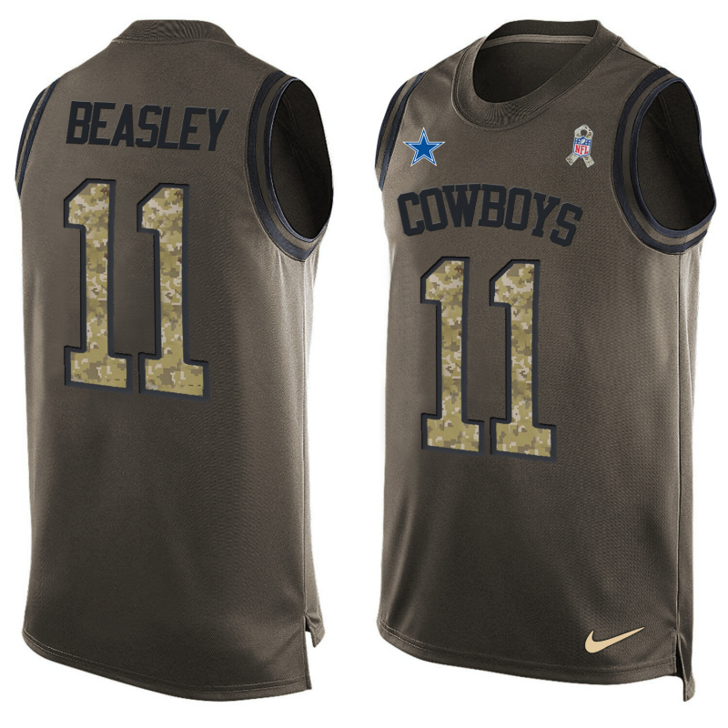 Nike Cowboys 11 Cole Beasley Olive Green Salute To Service Player Name & Number Tank Top