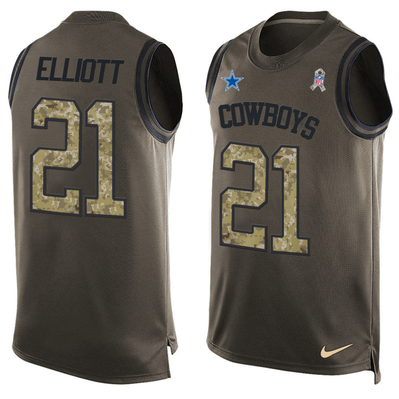 Nike Cowboys 21 Ezekiel Elliott Olive Green Salute To Service Player Name & Number Tank Top