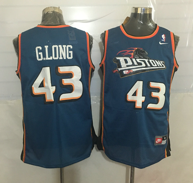 Pistons 43 Grant Long Blue Nike Stitched Jersey