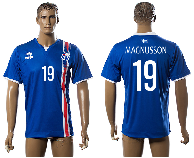 Iceland 19 MAGNUSSON Home UEFA Euro 2016 Thailand Jersey